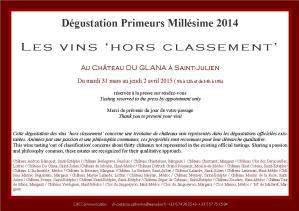 PRIMEURS millésime 2014 - invitation presse- Les vins 'Hors classement'