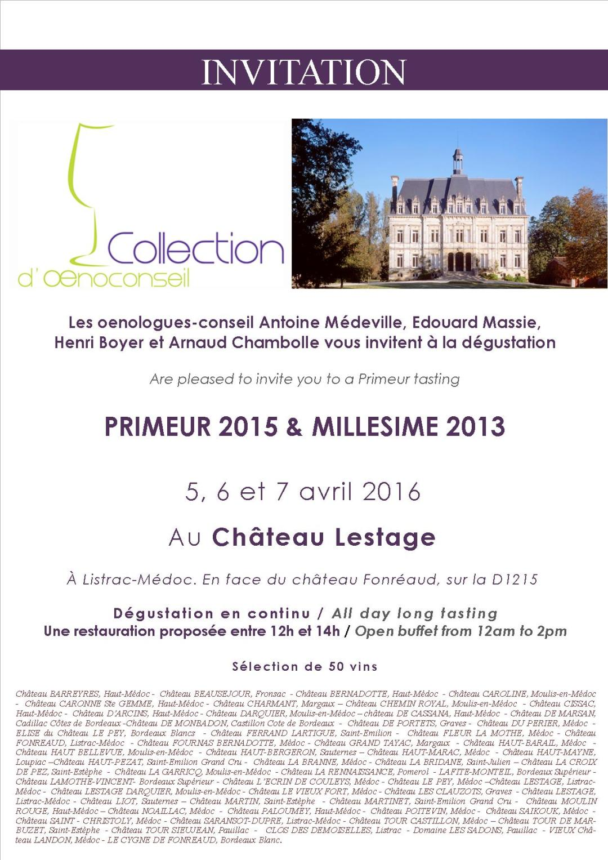 Invitation Primeur 2015 Collection d'Oenoconseil