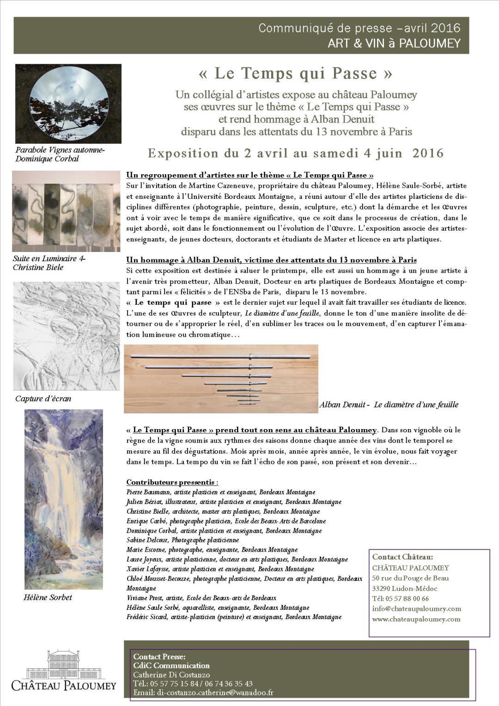 Ch Paloumey expo Le Temps qui Passe avril 2016