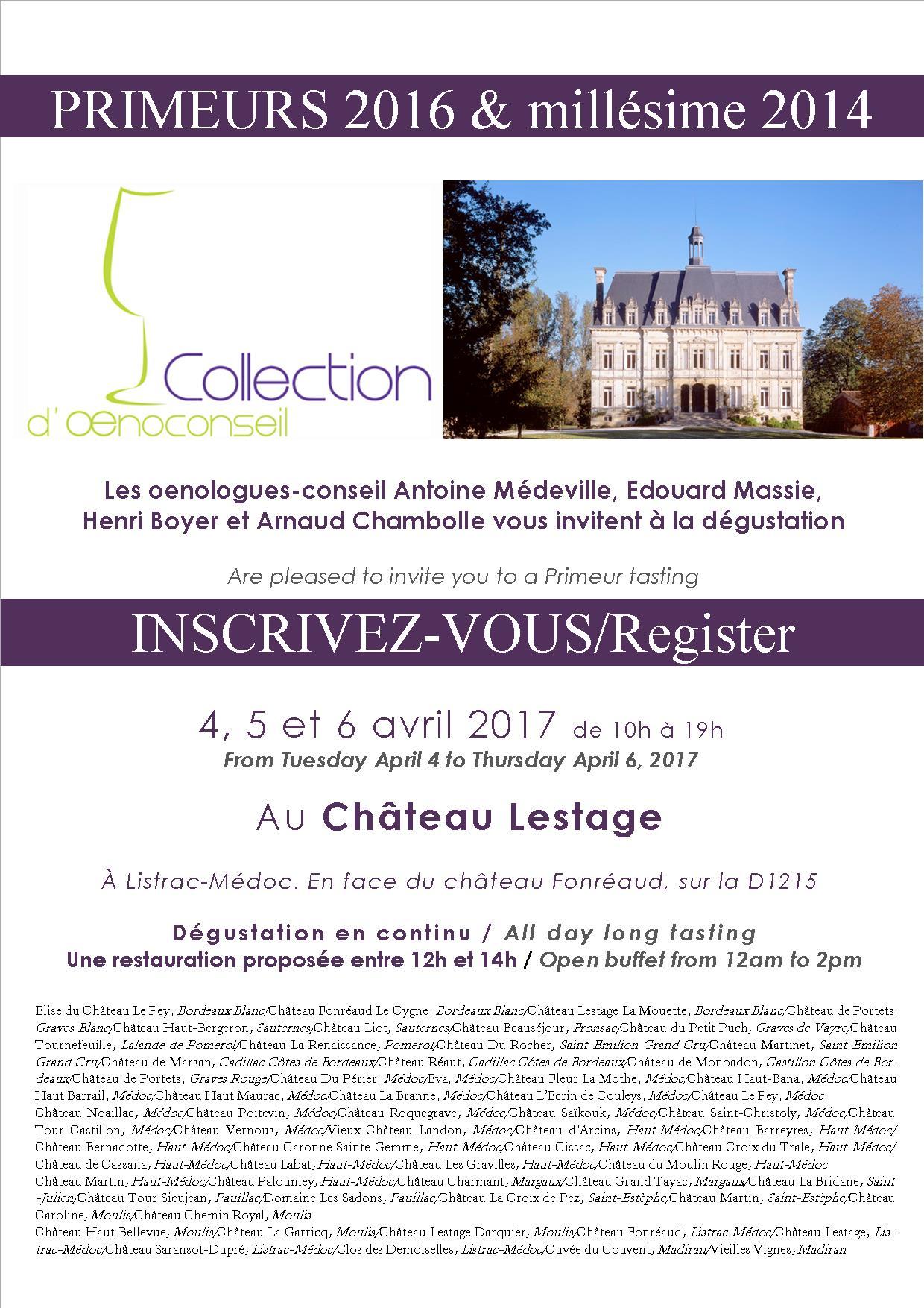 Invitation Primeur 2017 Collection d'Oenoconseil