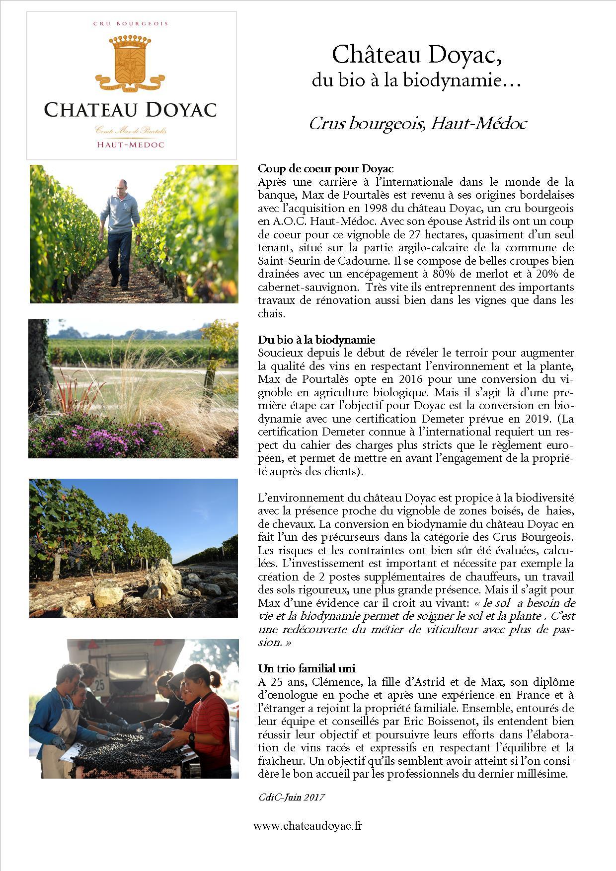 CP Château Doyac du bio à la biodynamie presse