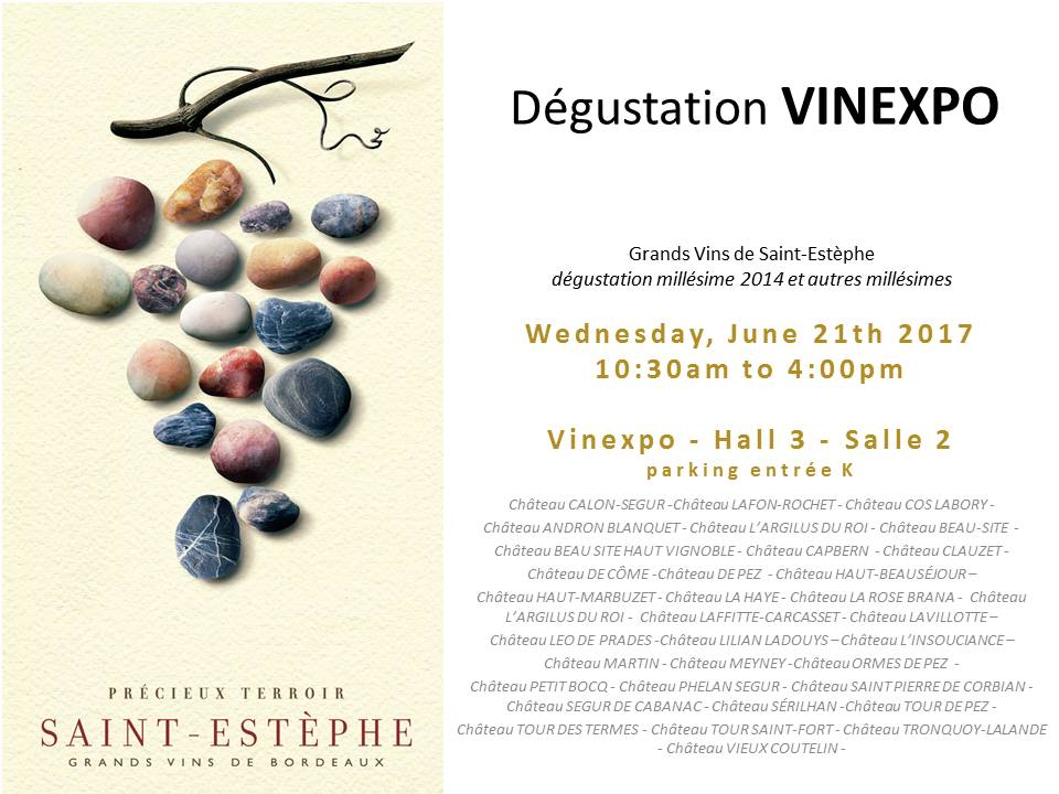 Dégustation des Vins de Saint-Estèphe Vinexpo 2017- Wednesday June 21- Hall 3 Salle 2