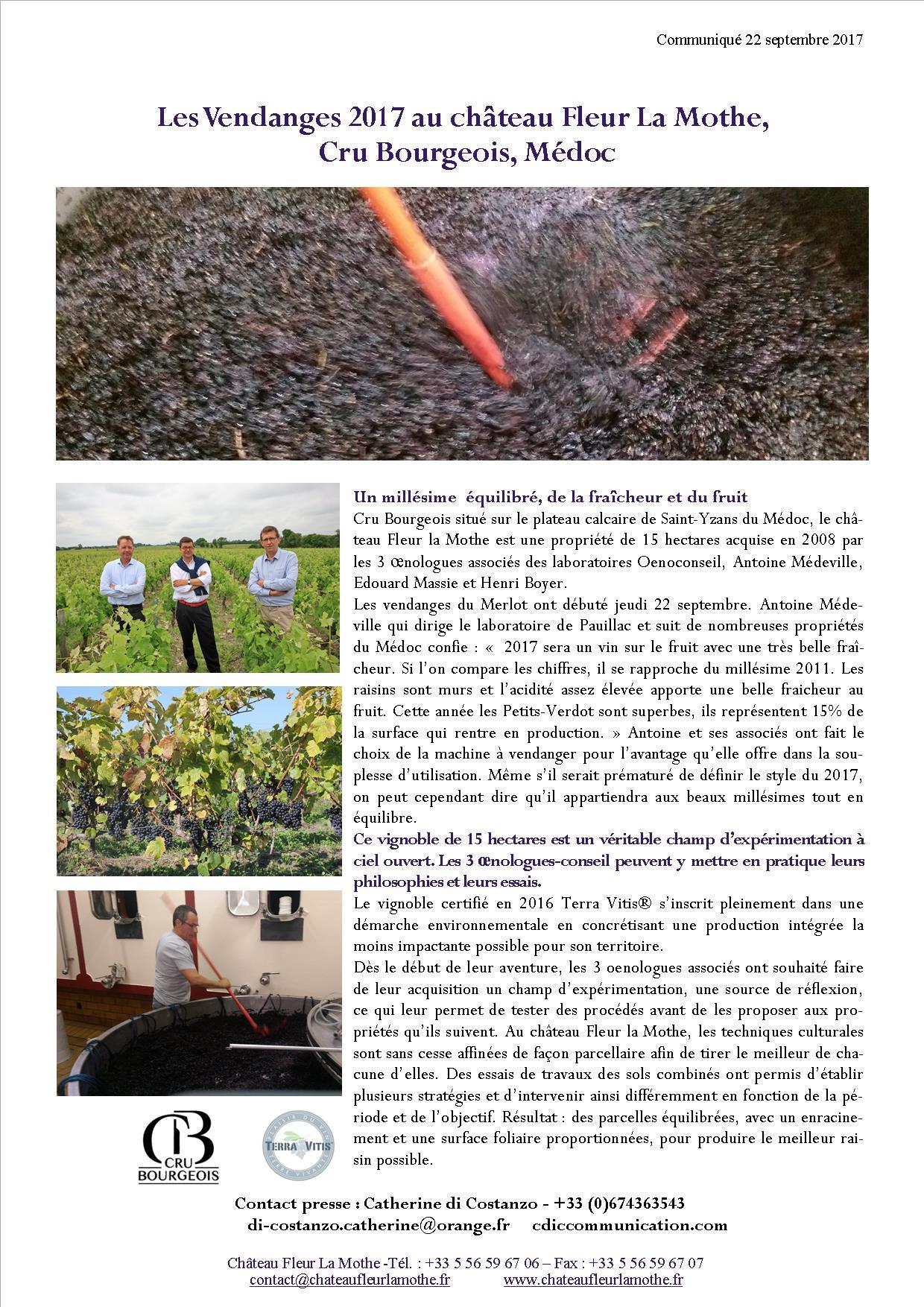 Vendanges 2017 Château Fleur La Mothe- Médoc