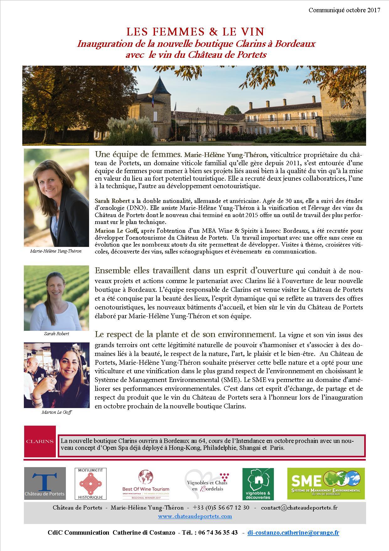 CP Les Femmes et le Vin. Château de Portets & Clarins