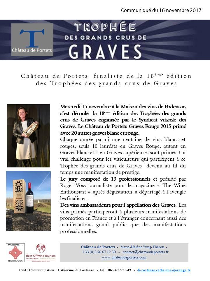 Château de Portets finaliste du Trophée des grands crus de Graves