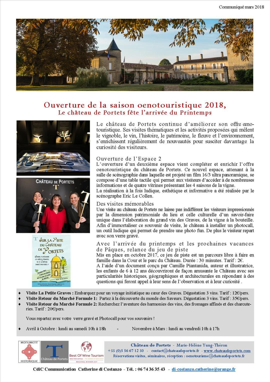 Ch DE PORTETS les actualités oenotouristiques du château de Portets